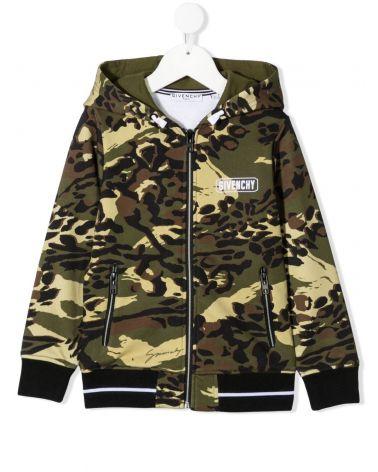 Felpa full zip cappuccio camouflage