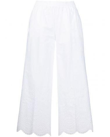 Pantalone cotone ricamo sangallo