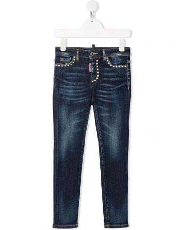 Jeans 5 tasche c/borchie