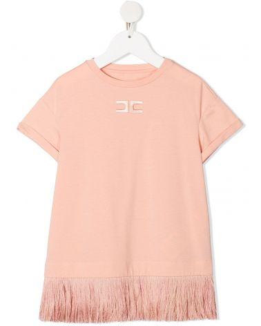 T-Shirt mm bordo frange effetto piume