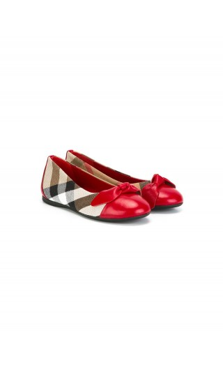BALLERINE IN PELLE CON MOTIVO HOUSE CHECK