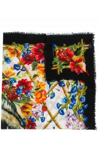 Sciarpa st.leopardo + fiori rampicanti