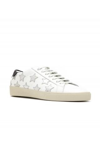 Sneakers pelle stelle argentate