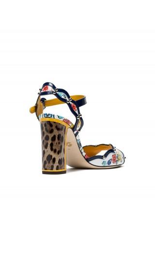 Sandalo vernice stampa leo maiolica