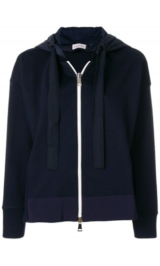 Cardigan full zip c/cappuccio