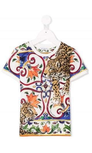 T-Shirt mm giro maiolica teste leopardo