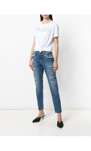 Jeans 5 tasche applicazioni + strass