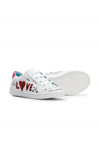 Sneakers  bassa allaccita vit.nappa