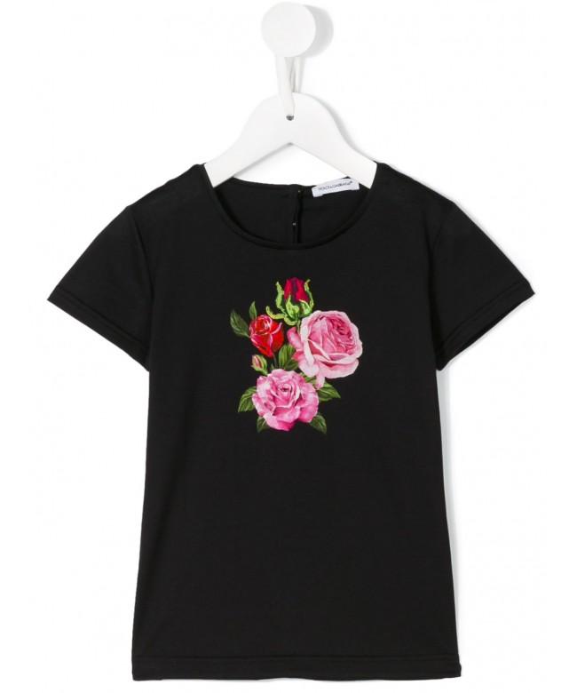 T-Shirt mm giro st.rose + appl.rosa