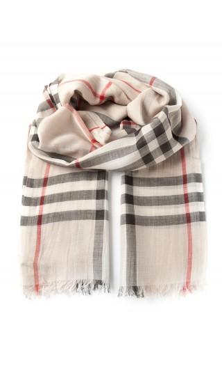 Sciarpa in lana e seta c/motivo check