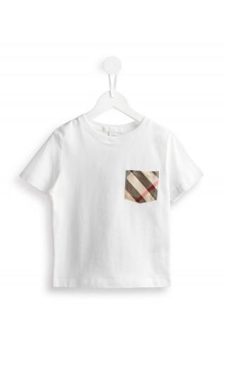 T-Shirt mm giro c/tasca check