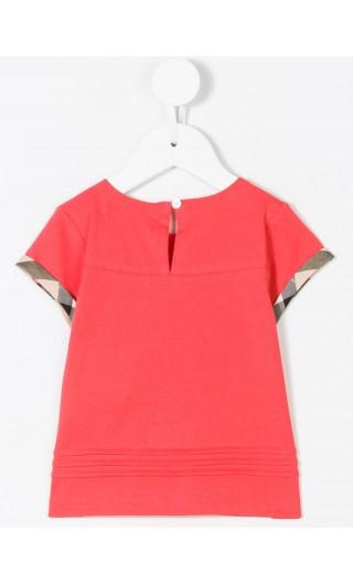 T-shirt c/pieghe e motivo tartan