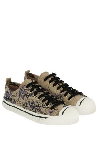 Sneakers gabardine c/disegni stampati