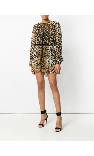 Abito georgette leopardo