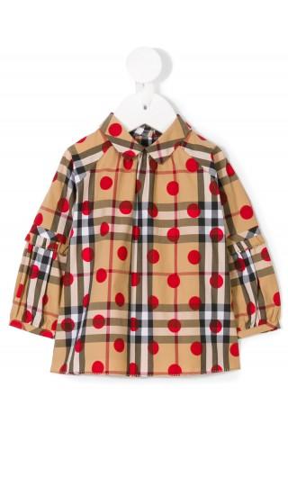 T-Shirt ml tartan c/pois e arricciature