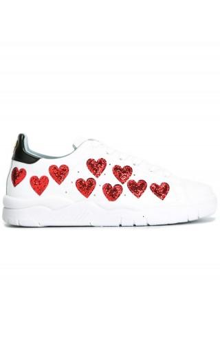 Sneakers cuori piccoli glitter