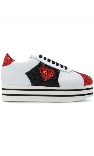 Sneakers c/platform e dett.glitter