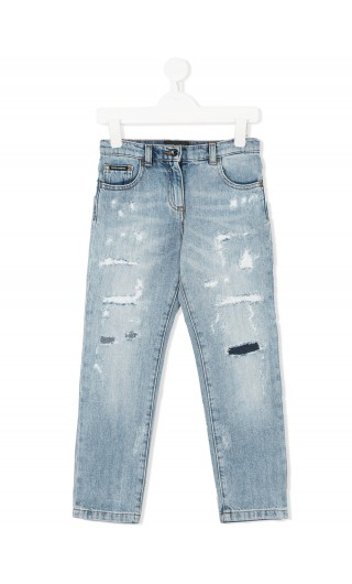 Jeans 5 tasche c/strappi
