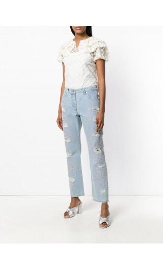 Jeans 5 tasche ricamato