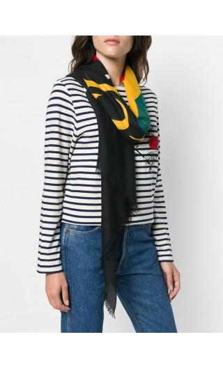 Scialle in seta moda logo Gucci