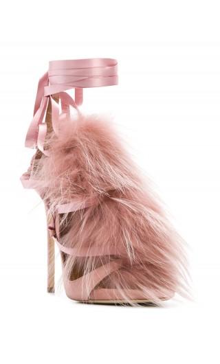 Sandalo tacco alto camoscio + racoon