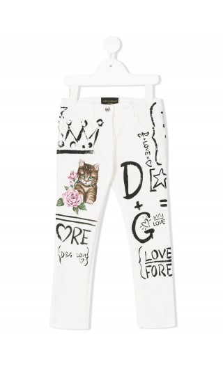 PANTALONE STRETCH DIPINTO GATTO