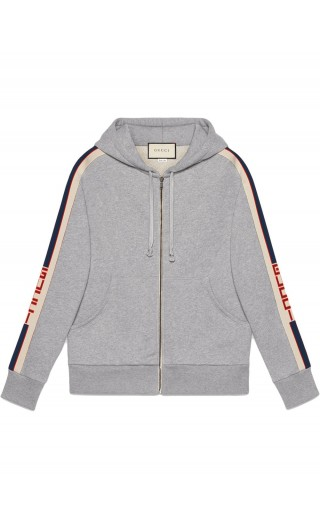 Felpa full zip c/capp. ns.Gucci