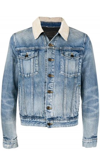 Giubbotto denim colletto corduroy