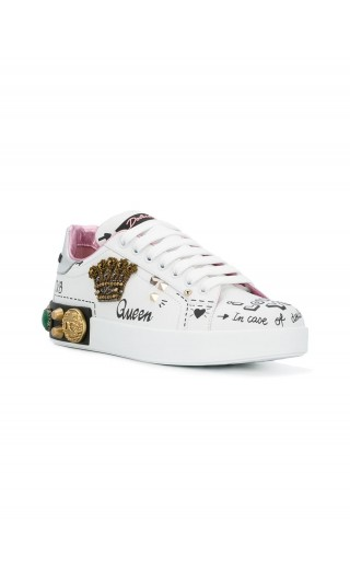 Sneakers vitello nappato + dauphine