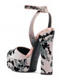 Sandalo plateau tomaia velluto dett.glitter
