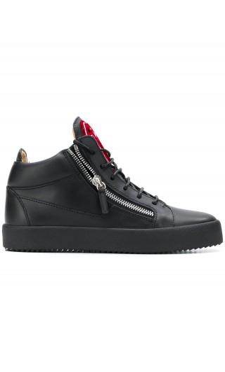 Sneaker mid-top pelle c/logo