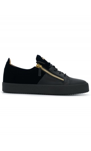 Sneaker low-top in pelle e velluto