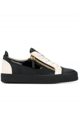 Sneaker low-top pelle inserto vernice
