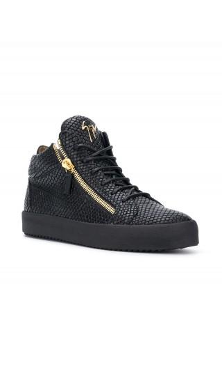 Sneaker pelle goffrata pitone c/logo