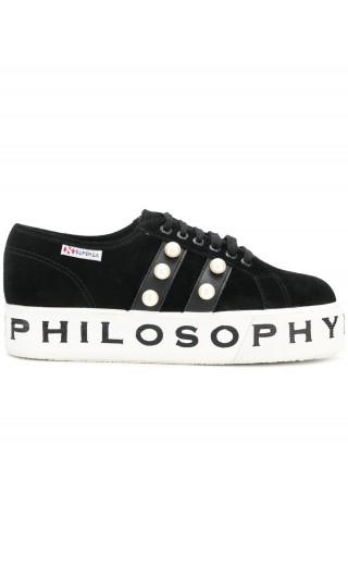Sneakers zeppa logo + strass