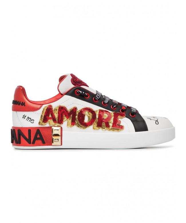 Sneakers classica nappa ricamo amore