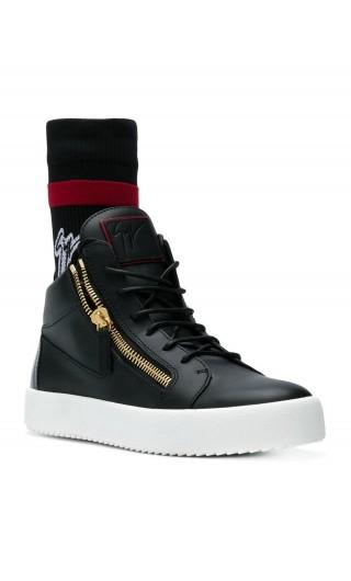 Sneaker low-top pelle c/calzino logo