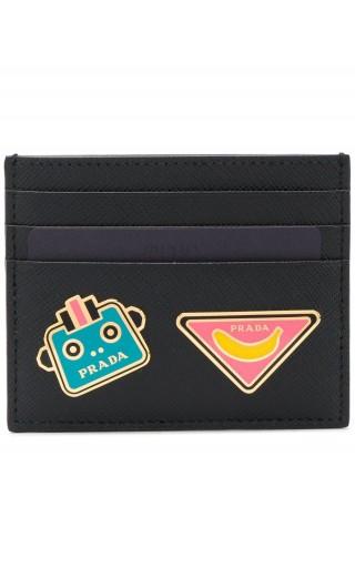 Porta carte di credito saffiano print