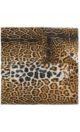 Sciarpa quadsrata leopard c/iniziali YSL