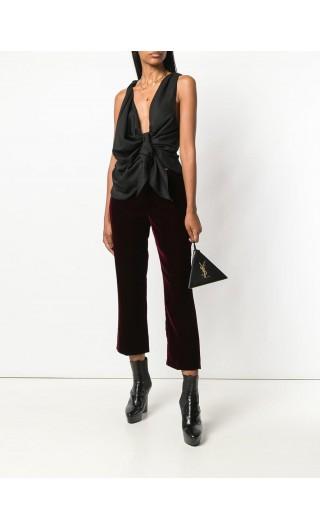 Pantalone a sigaretta velluto burgundy