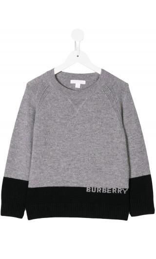 Pullover cashmere c/logo a intarsio