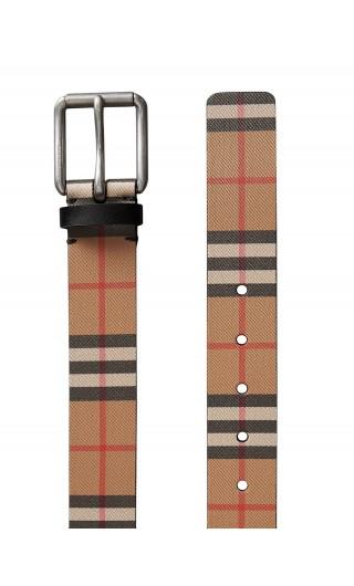 Cintura in pelle con motivo Vintage check