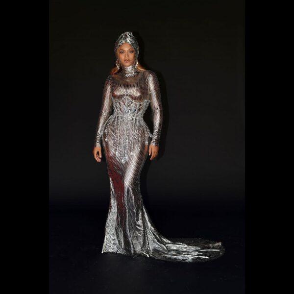 Burberry: Beyoncè triumphs at the Grammys wearing a Riccardo Tisci dress.